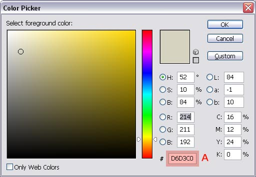 Color picker - selecting foreground color