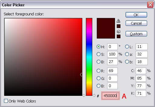 Entering color value